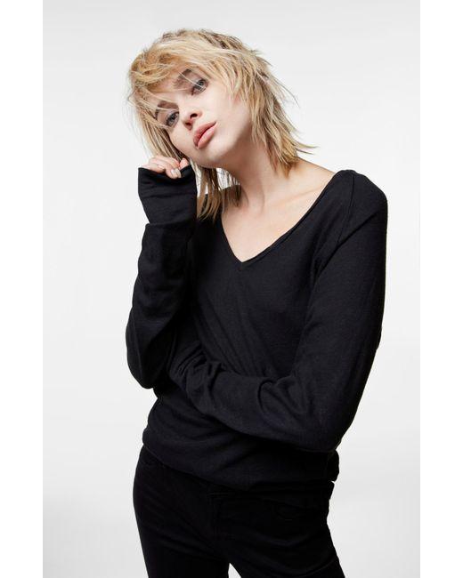 J Brand | Long Sleeve V-neck Tee In Black | Lyst
