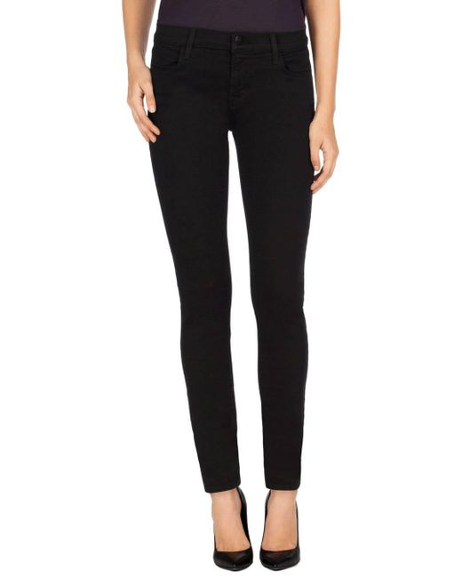 J Brand   620 Mid-rise Super Skinny In Seriously Black   Lyst