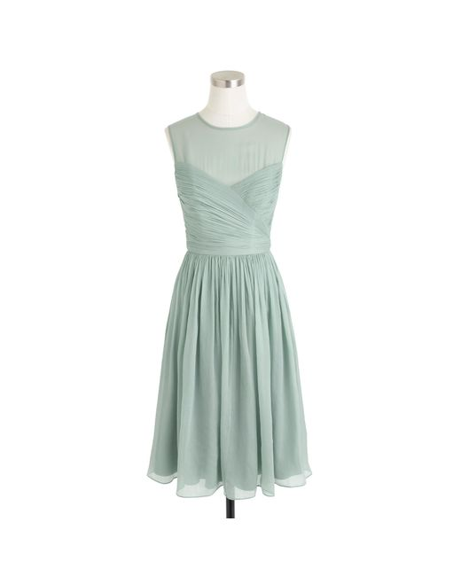 J.Crew   Gray Clara Dress In Silk Chiffon   Lyst
