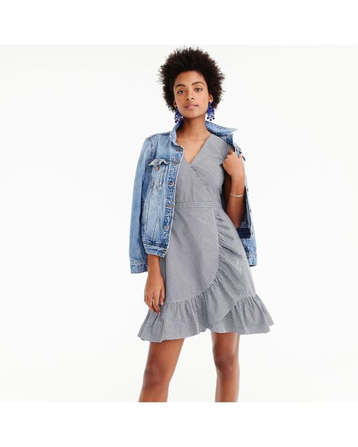 J.Crew - Blue Faux-wrap Mini Dress In Gingham Cotton Poplin - Lyst