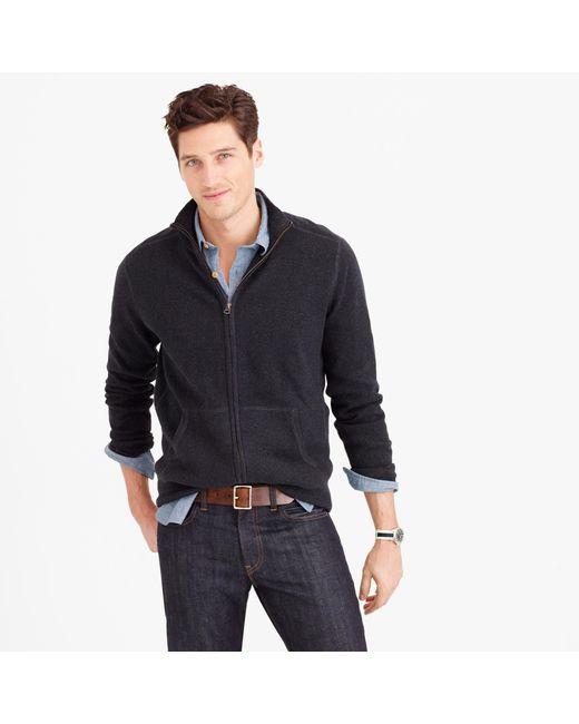 J.Crew | Black Cotton-cashmere Zip Sweater-jacket for Men | Lyst