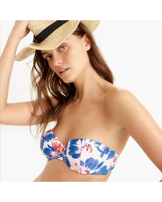 97a41706af ... J.Crew - Blue Eco Underwire Bikini Top In Pansy Print - Lyst ...