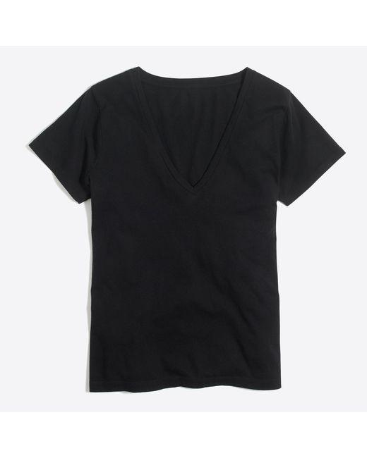 J.Crew - Black V-neck T-shirt In Supima Cotton - Lyst