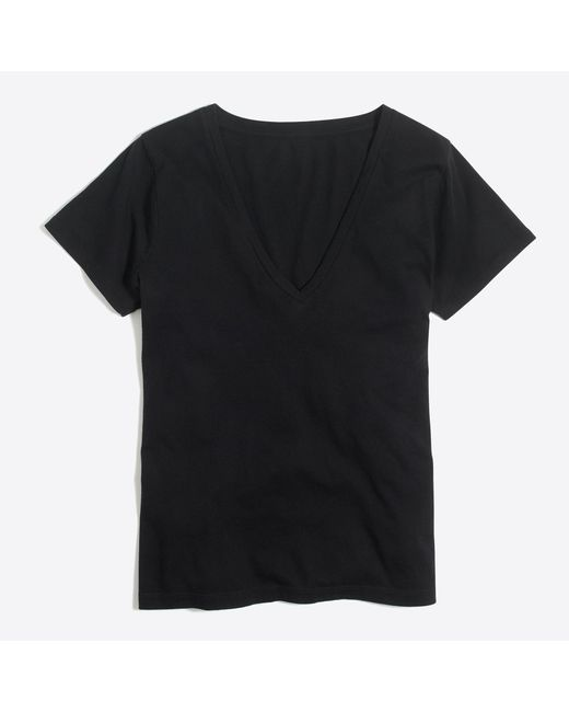 J.Crew | Black V-neck T-shirt In Supima Cotton | Lyst