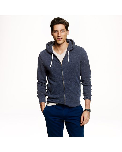 J.Crew - Blue Brushed Fleece Zip Hoodie for Men - Lyst