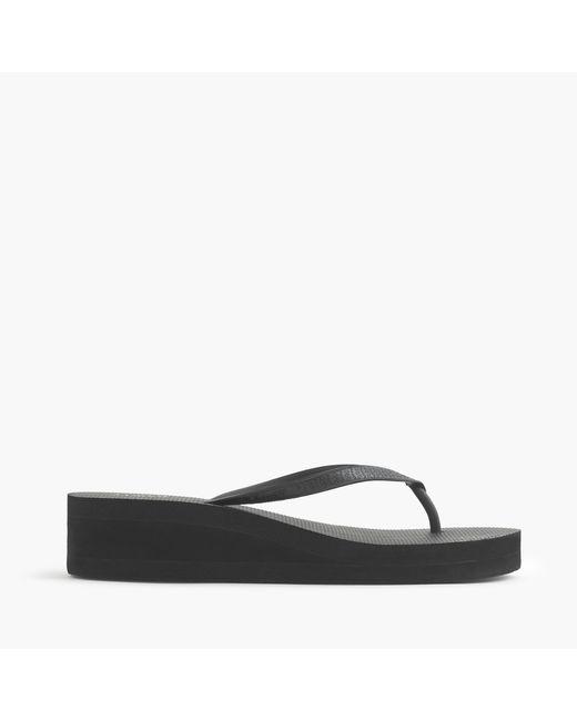 J.Crew | Black Skinny Wedge Flip-flops | Lyst