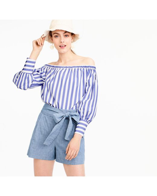 J.Crew - Blue Tie-waist Short In Chambray - Lyst