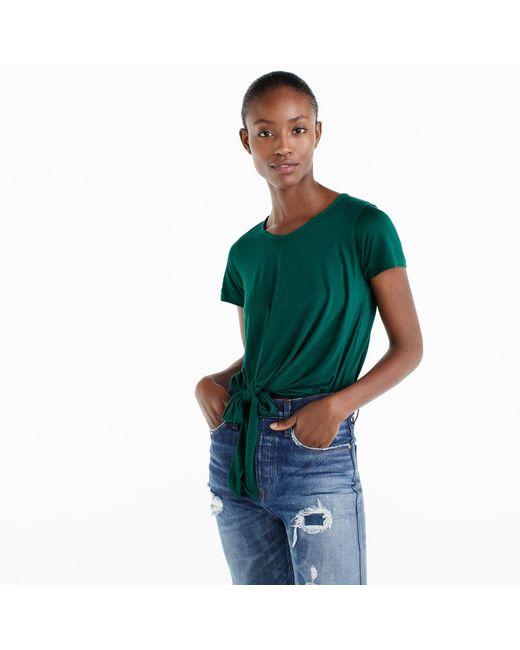 J.Crew | Green Tie-front T-shirt | Lyst