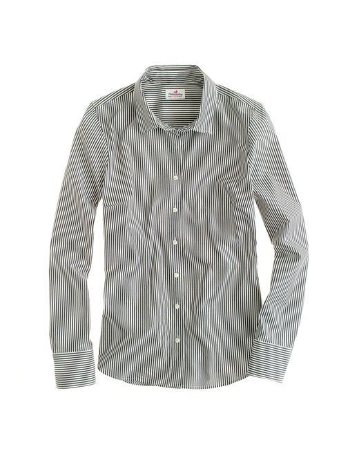 J.Crew | Black Stretch Perfect Shirt In Classic Stripe | Lyst
