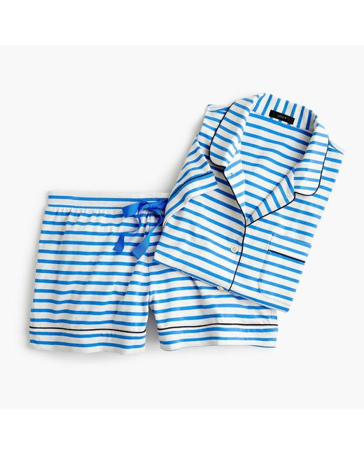 J.Crew - Blue Dreamy Short-sleeve Cotton Pajama Set In Stripe - Lyst
