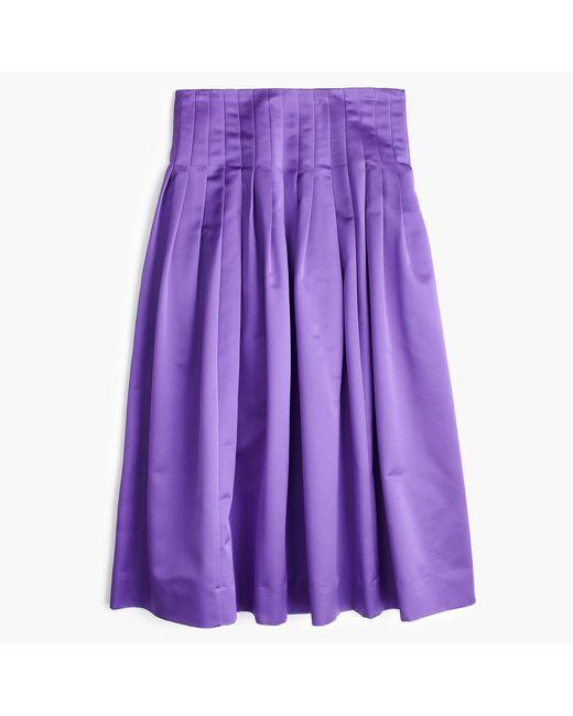 J.Crew - Purple Petite Satin Pleated Midi Skirt - Lyst