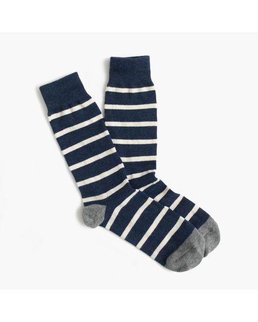 J.Crew - Blue Naval-striped Socks for Men - Lyst