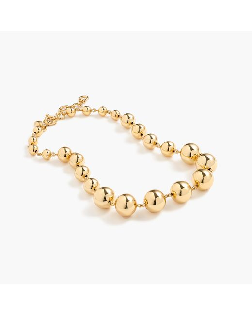 J.Crew - Metallic Graduated Gold Ball Necklace - Lyst