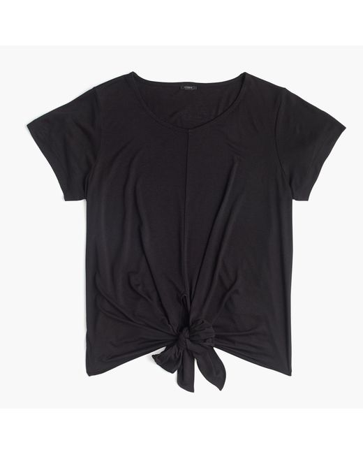 J.Crew | Black Tie-front T-shirt | Lyst
