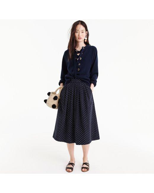 J.Crew - Blue Midi Skirt In Vintage Clip Dot - Lyst