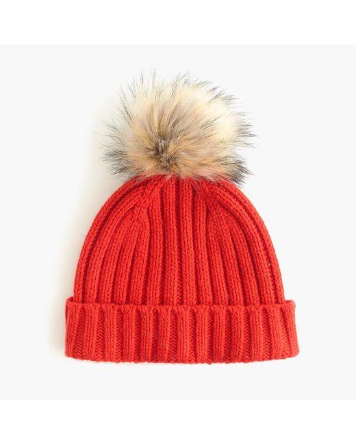 J.Crew - Red Ribbed Beanie With Faux-fur Pom-pom - Lyst