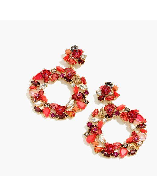 J.Crew - Red Colorful Floral Hoop Earrings - Lyst