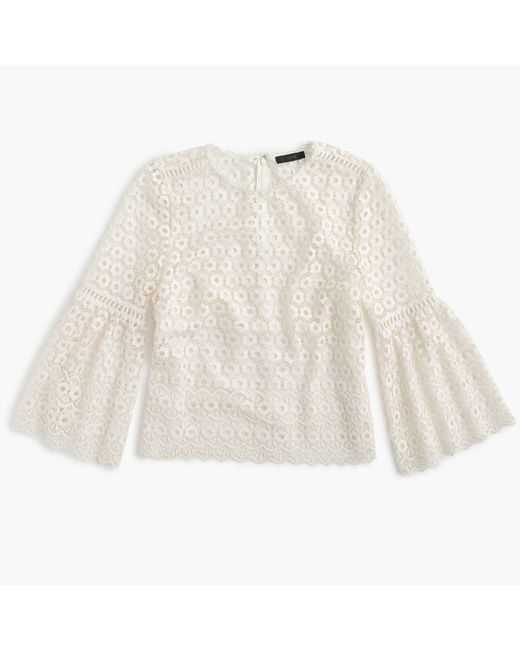J.Crew | White Daisylace Bell-sleeve Top | Lyst