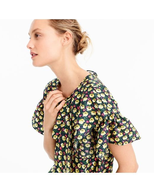 J.Crew | Blue Collection Silk Ruffle Top In Ratti Midnight Floral | Lyst