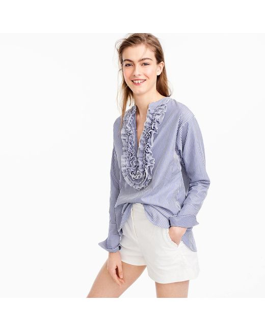 J.Crew | Blue Collection Thomas Mason Striped Ruffled Popover | Lyst