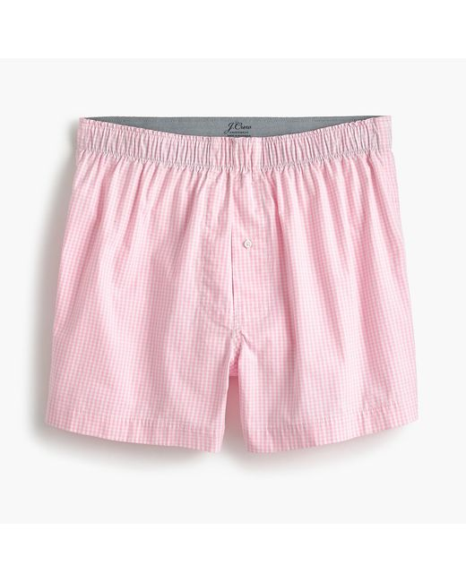 J.Crew - Pink Stretch Microgingham Boxers for Men - Lyst