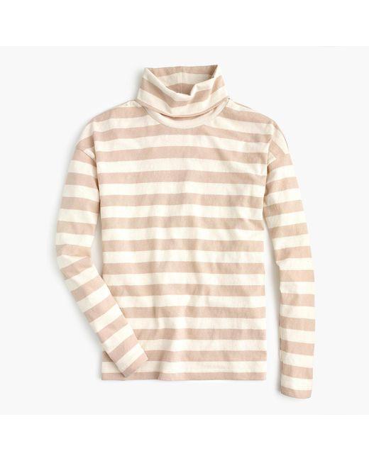 J.Crew - Natural Deck-striped Turtleneck T-shirt - Lyst