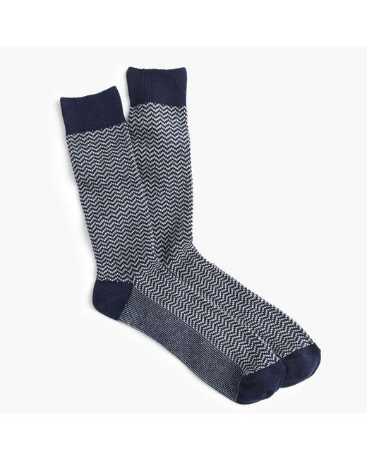 J.Crew - Blue Zigzag Socks for Men - Lyst