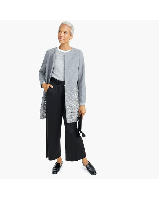 J.Crew - Gray Collection Cocoon Coat In Embellished Italian Wool Melton - Lyst