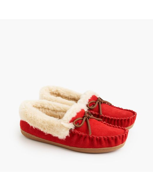 J.Crew - Red Women's Lodge Moccasins - Lyst