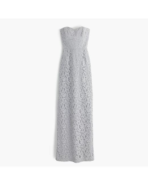 J.Crew | Gray Natasha Long Dress In Leavers Lace | Lyst