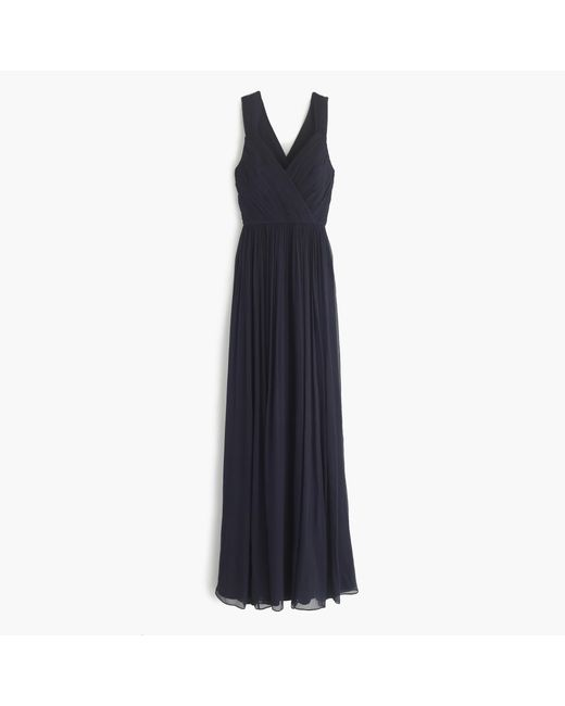 J.Crew | Blue Anabel Long Dress In Silk Chiffon | Lyst