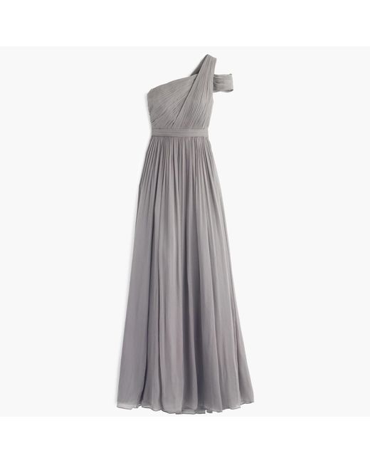 J.Crew | Gray Cara Long Dress In Silk Chiffon | Lyst