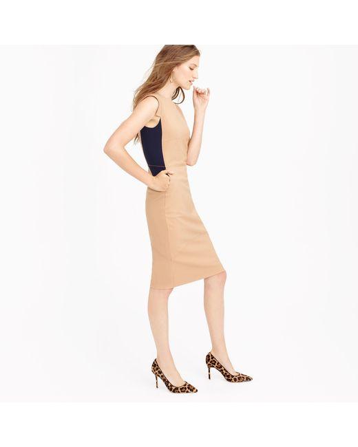 J.Crew | Orange Colorblock Sheath Dress In Italian Stretch Wool | Lyst