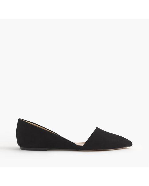 J.Crew | Black Sloan Suede D'orsay Flats | Lyst