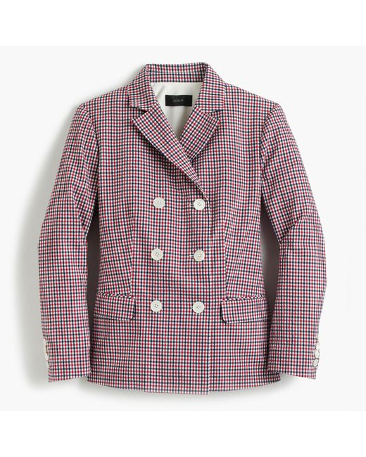 J.Crew | Double-breasted Blazer In Red Tattersall | Lyst