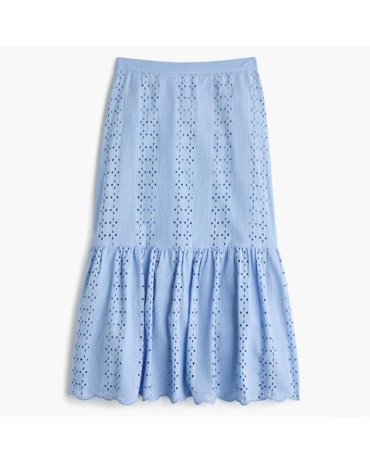 J.Crew | Blue Tiered Scalloped Skirt In Eyelet | Lyst