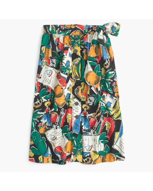 J.Crew | Black A-line Button-up Skirt In Postcard Print | Lyst