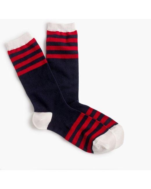 J.Crew | Red Trouser Socks In Colorblock Stripe | Lyst