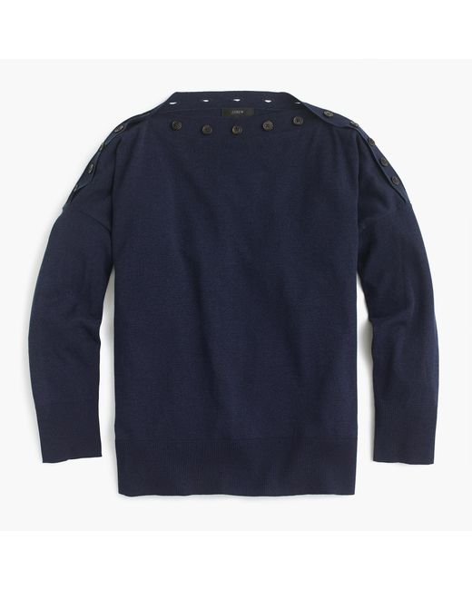 J.Crew | Blue Button Boatneck Sweater | Lyst