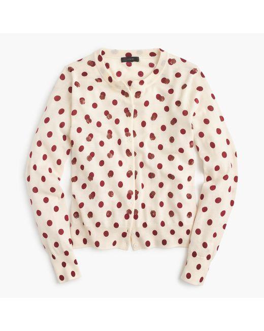 J.Crew   Pink Jackie Cardigan Sweater In Sequin Polka Dot   Lyst