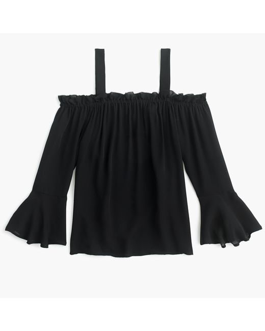 J.Crew | Black Cold-shoulder Top With Bell Sleeves | Lyst