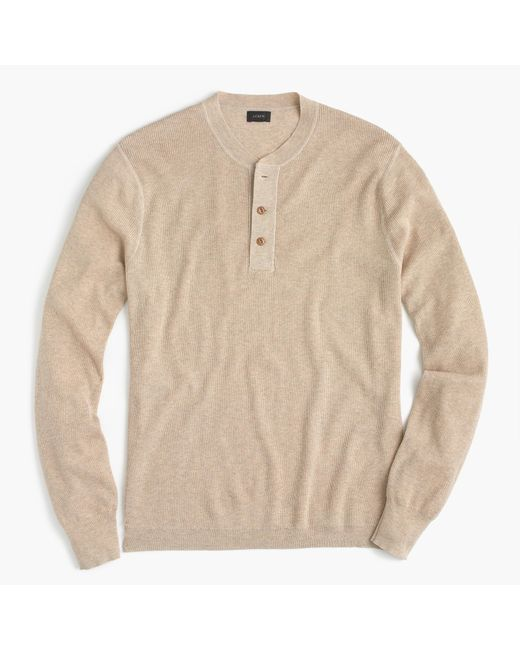 J.Crew | Natural Wool-cotton Henley Sweater for Men | Lyst