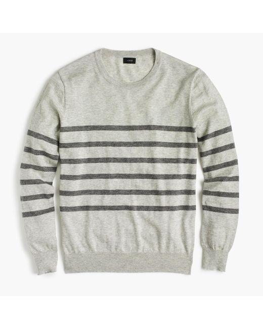 J.Crew | Gray Wool-cotton Crewneck Sweater In Stripe for Men | Lyst