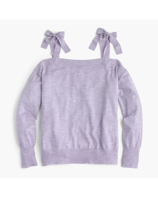 J.Crew | Purple Merino Wool Cold-shoulder Sweater | Lyst