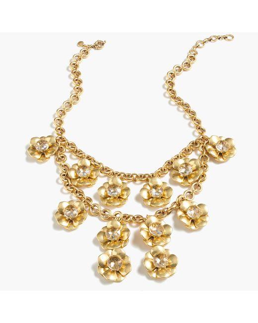 J.Crew | Metallic Gold Flower Statement Necklace | Lyst