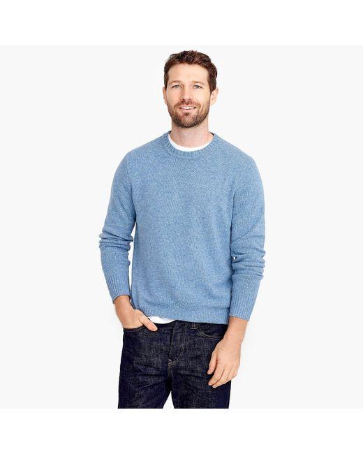 J.Crew - Blue Rugged Merino Wool Heather Crewneck Sweater for Men - Lyst