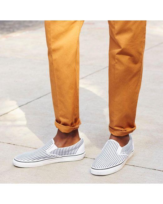 168ebbce2e ... Vans - Blue Slip-on Sneakers In Seersucker Stripe for Men - Lyst ...