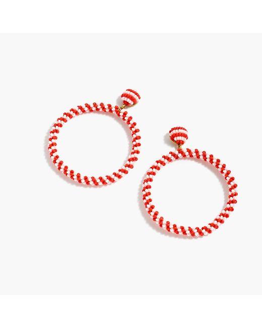 J.Crew - Red Beaded Drop-hoop Earrings - Lyst