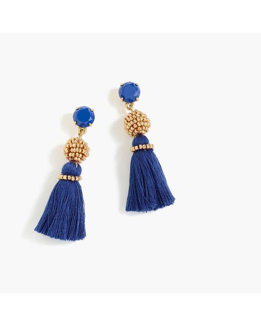 J.Crew - Blue Bead And Tassel Earrings - Lyst