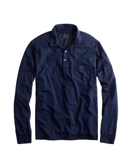 J.Crew - Blue Broken-in Long-sleeve Pocket Polo Shirt for Men - Lyst